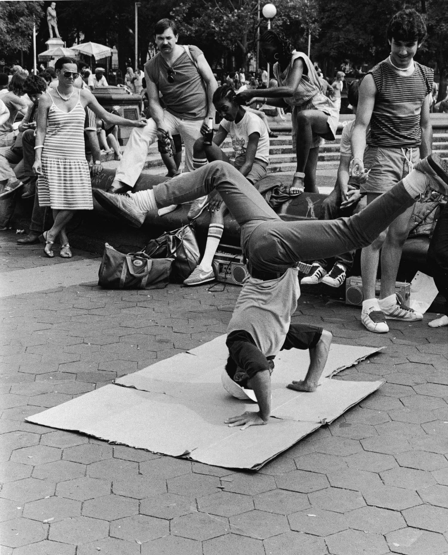 A break dancer in Washington Square Park
